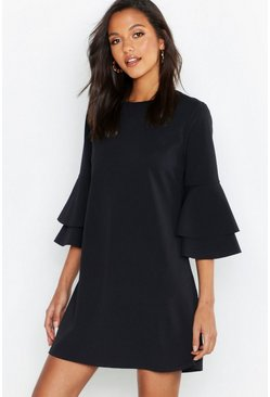 Black Volume Sleeve Stretch Shift Dress