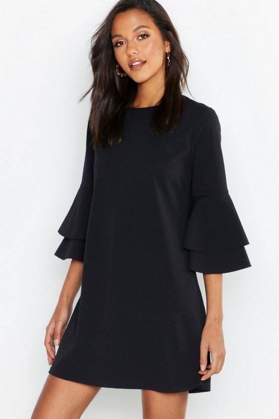 Volume Sleeve Stretch Shift Dress