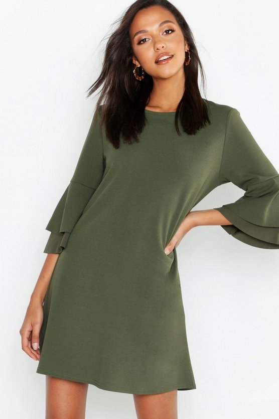 Khaki Volume Sleeve Stretch Shift Dress