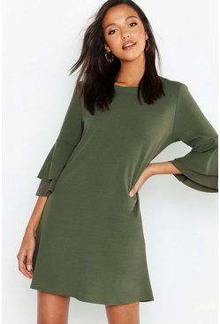 Womens Khaki Volume Sleeve Stretch Shift Dress