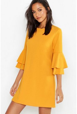 Mustard Volume Sleeve Stretch Shift Dress