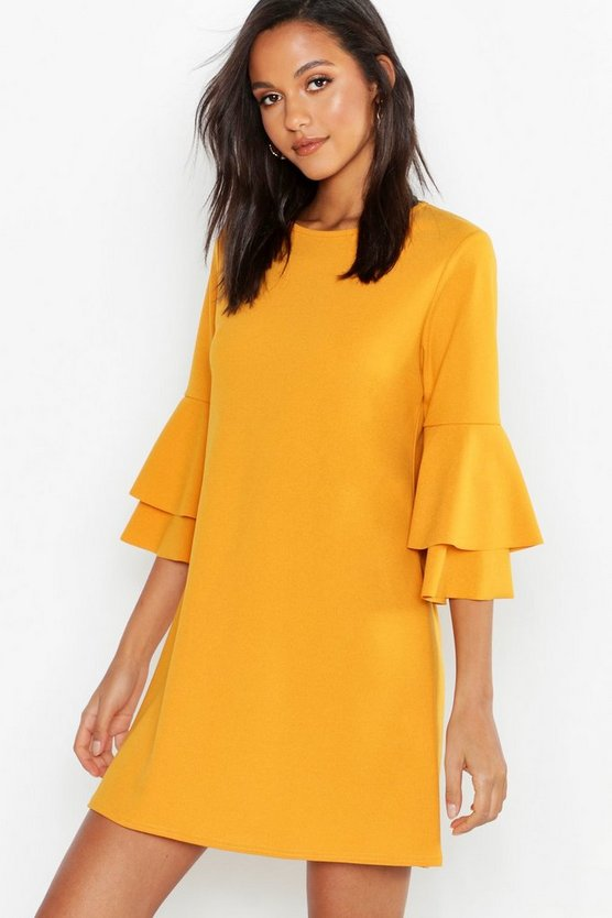 Womens Mustard Volume Sleeve Stretch Shift Dress