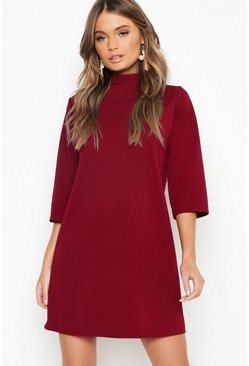 Womens Berry High Neck 3/4 Sleeve Shift Dress