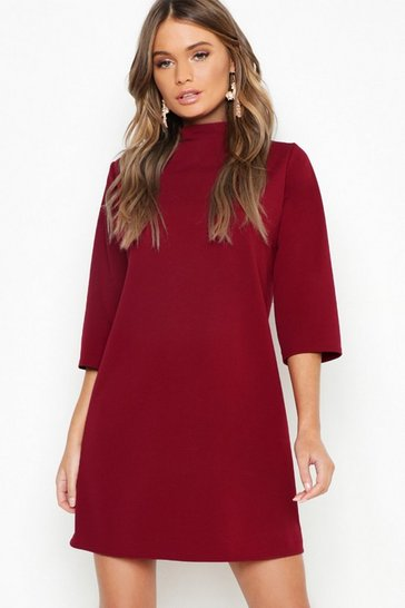 Berry High Neck 3/4 Sleeve Shift Dress