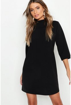 Womens Black High Neck 3/4 Sleeve Shift Dress