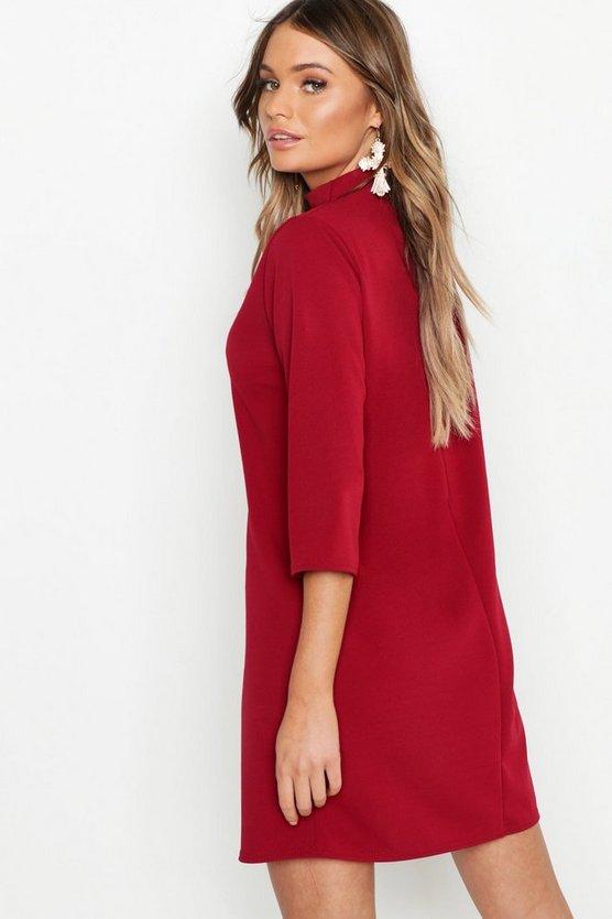 High Neck 3/4 Sleeve Shift Dress
