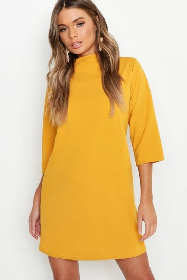 Womens Mustard High Neck 3/4 Sleeve Shift Dress