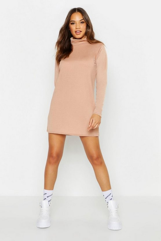 Womens Roll Neck Long Sleeve Shift Dress