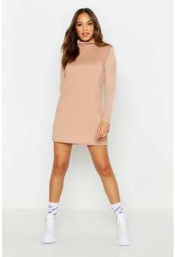 Womens Camel Roll Neck Long Sleeve Shift Dress