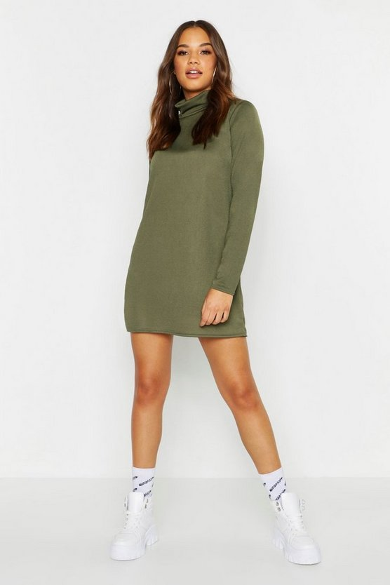 Roll Neck Long Sleeve Shift Dress