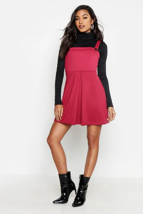Womens Berry Pleat Front Pinafore Dress