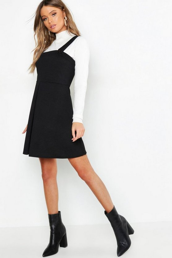 Womens Black Pleat Front Pinafore Dress