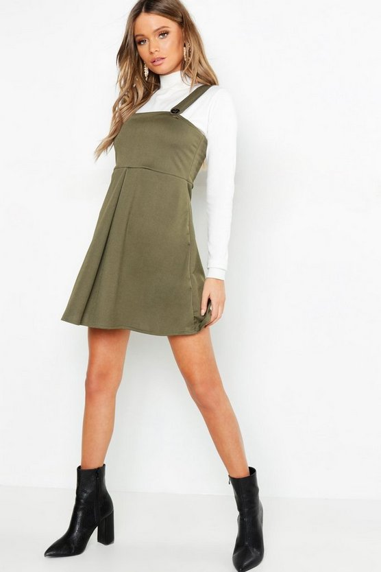 Womens Khaki Pleat Front Pinafore Dress
