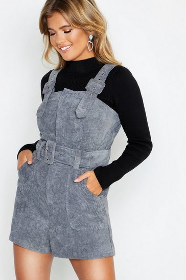 Denim-blue Cord Buckle Belted Pinafore Playsuit