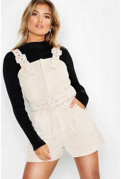 Ecru Cord Buckle Belted Pinafore Playsuit