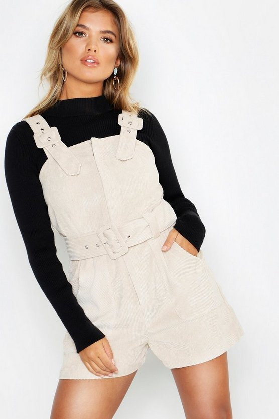 Womens Ecru Cord Buckle Belted Pinafore Playsuit