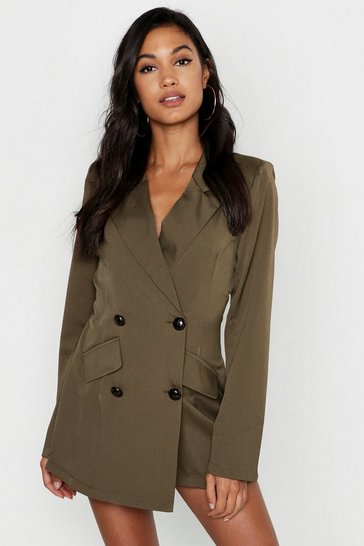 Womens Khaki Safari Blazer Skort Playsuit