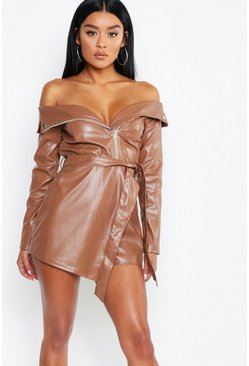 Womens Caramel Leather Look Biker Jacket Playsuit
