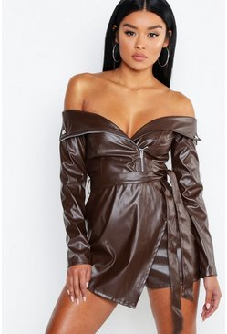 Womens Chocolate Leather Look Biker Jacket Playsuit
