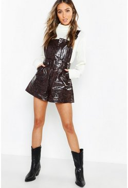 Womens Chocolate Snake Print Leather Look Buckle Playsuit