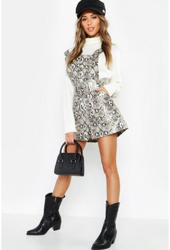 Womens Sand Snake Print Leather Look Buckle Playsuit