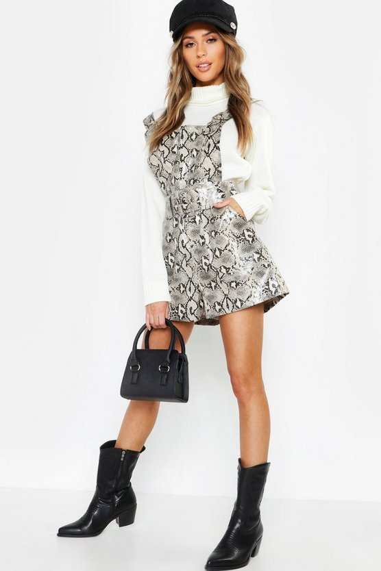 Snake Print Leather Look Buckle Playsuit