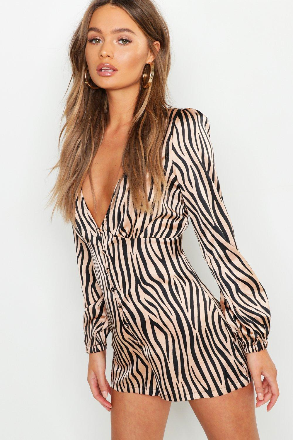 Satin Zebra Button Slip Playsuit