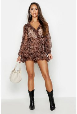 Womens Tan Chiffon Leopard Ruffle Wrap Short Playsuit