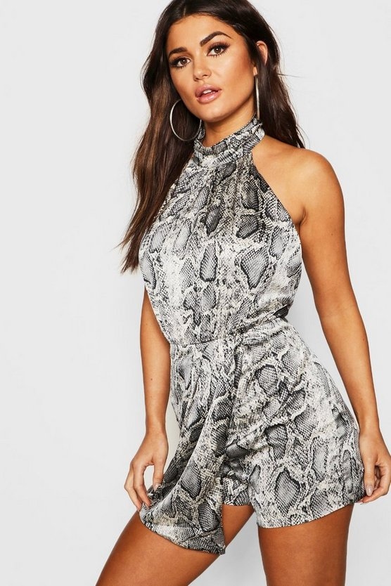 Womens Grey Snake Print Satin Turtle Neck Playsuit
