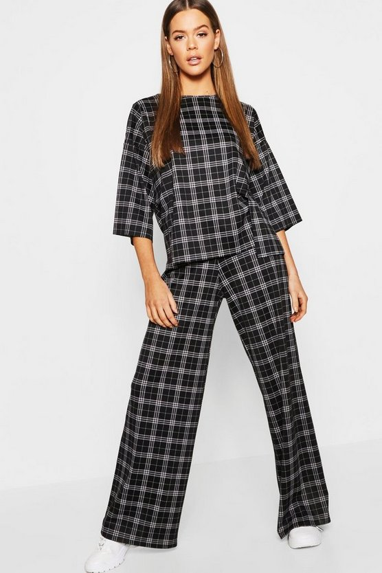 Check Split Oversize Tee + Trouser Co-Ord