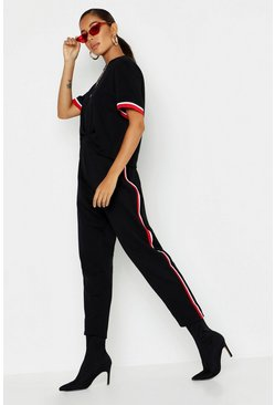Womens Black Stripe Detail T-Shirt + Jogger Co-Ord