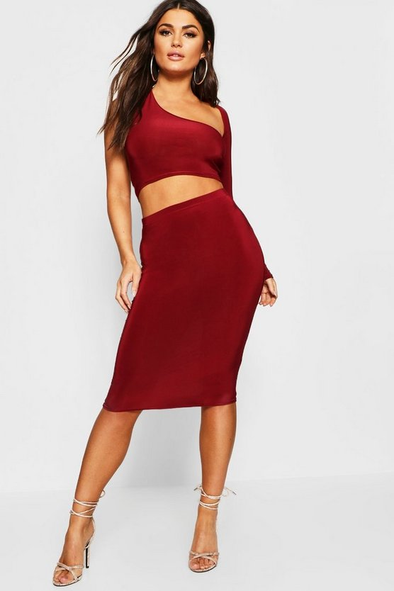 Womens Berry Wrap Asymetric Sleeve Top + Skirt Co-Ord
