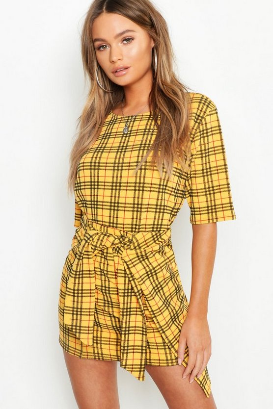 Mustard Check Button Detail Wrap Skirt Co-Ord