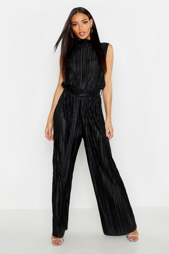 Plisse High Neck Jumpsuit