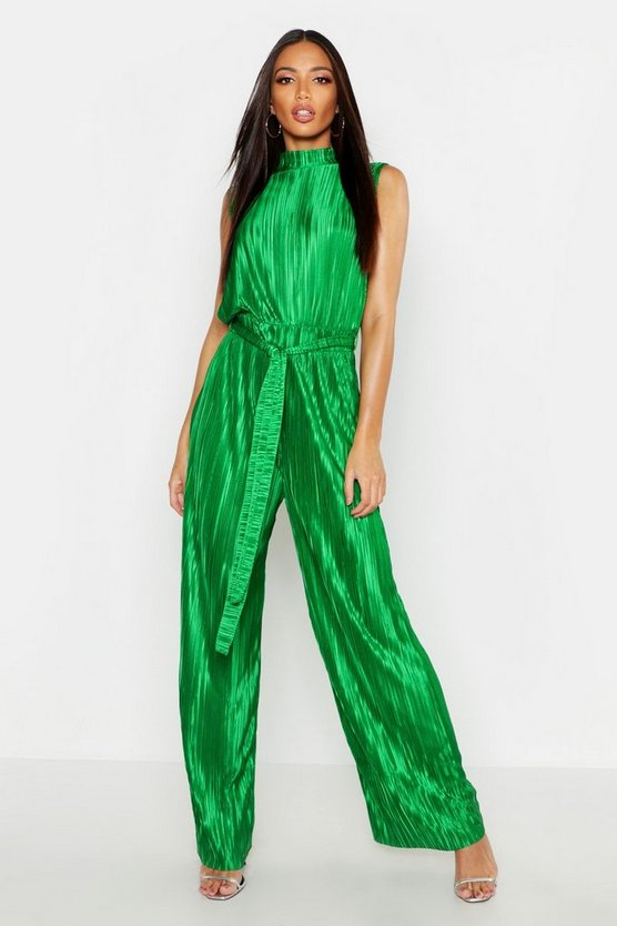 Womens Green Plisse High Neck Jumpsuit