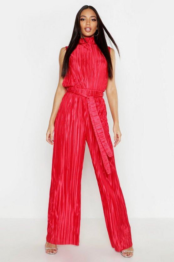 Womens Red Plisse High Neck Jumpsuit