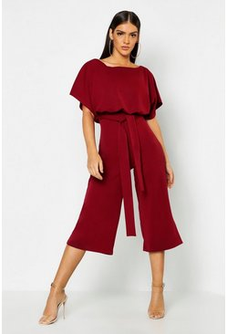 Slash Neck Tie Waist Culotte Jumpsuit, Berry