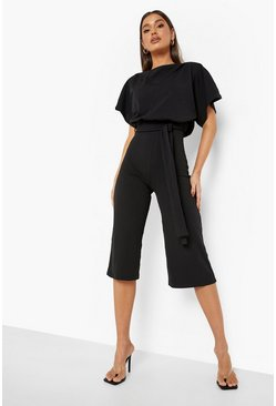Black Slash Neck Tie Waist Culotte Jumpsuit