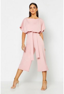 Womens Dusky pink Slash Neck Tie Waist Culotte Jumpsuit