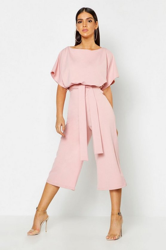 Slash Neck Tie Waist Culotte Jumpsuit