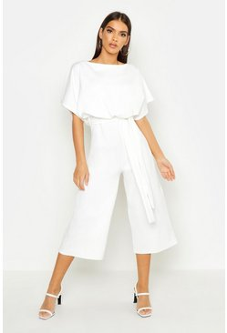 Womens Ivory Slash Neck Tie Waist Culotte Jumpsuit