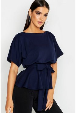 Slash Neck Tie Waist Peplum Hem Top, Navy