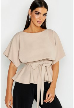 Stone Slash Neck Tie Waist Peplum Hem Top