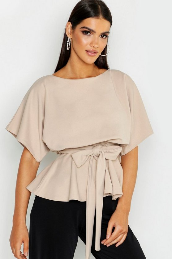 Womens Stone Slash Neck Tie Waist Peplum Hem Top
