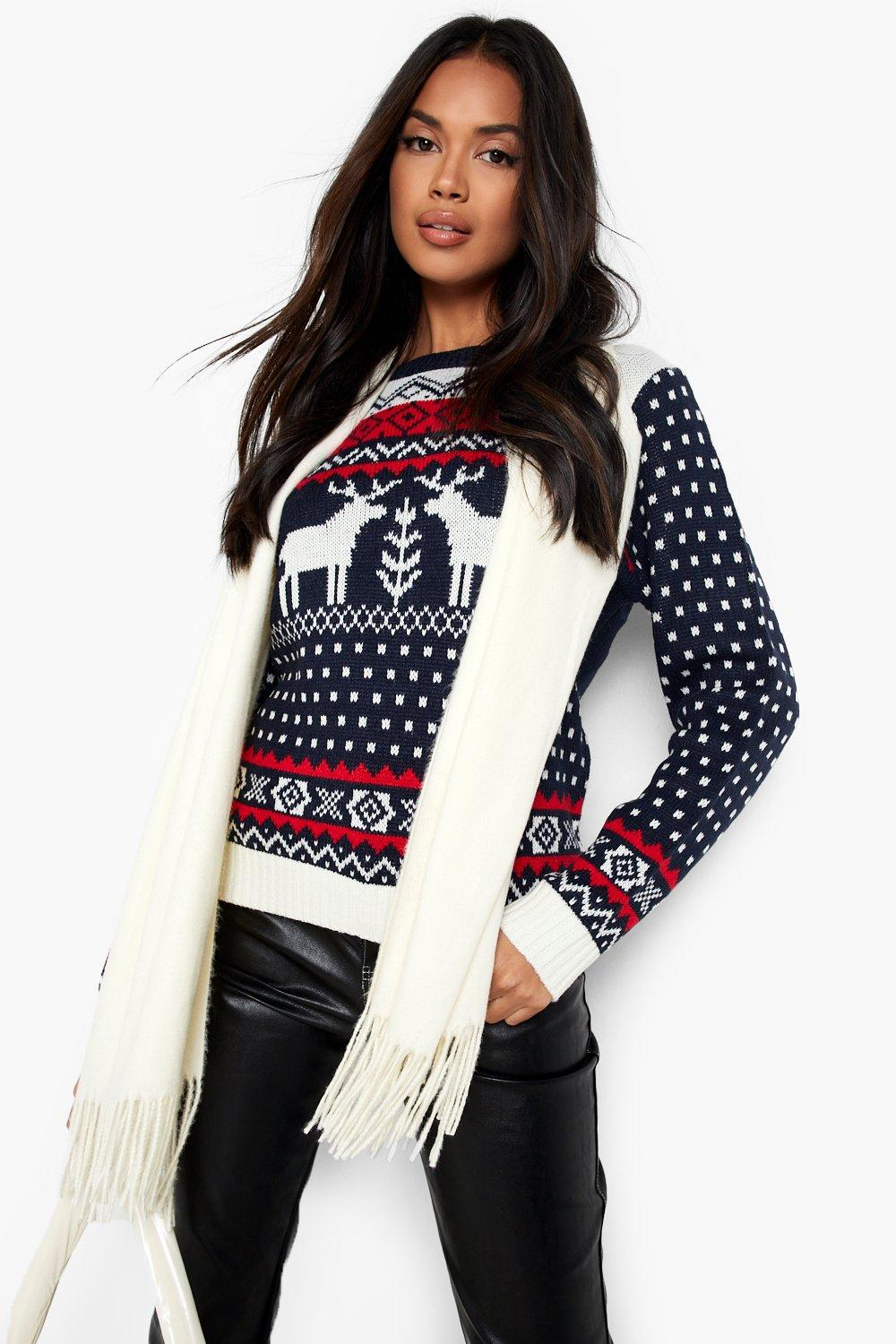 Vintage Sweaters, Retro Sweaters & Cardigan Womens Aztec Fairisle Reindeer Christmas Sweater - Navy - M $15.20 AT vintagedancer.com