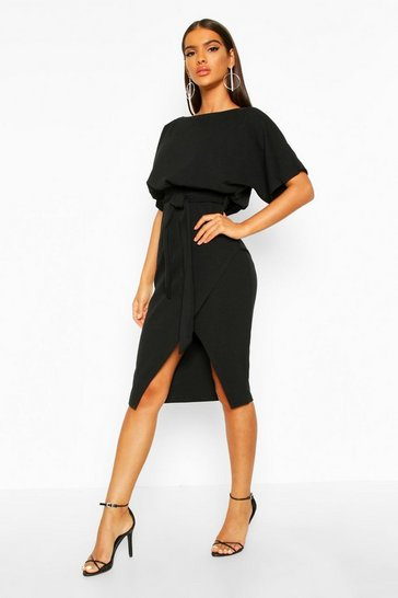 Womens Black Slash Neck Tie Waist Midi Dress