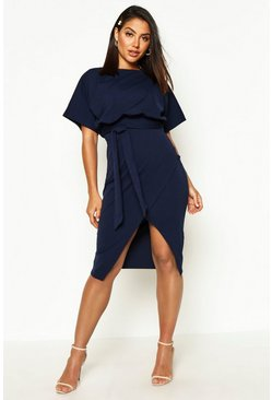 Slash Neck Tie Waist Midi Dress, Navy, Donna