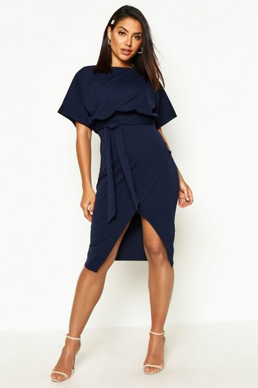 Womens Navy Slash Neck Tie Waist Midi Dress