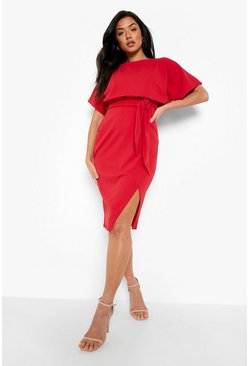 Slash Neck Tie Waist Midi Dress, Red, Donna