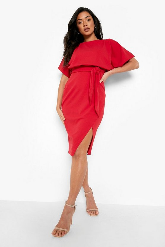 Womens Red Slash Neck Tie Waist Midi Dress